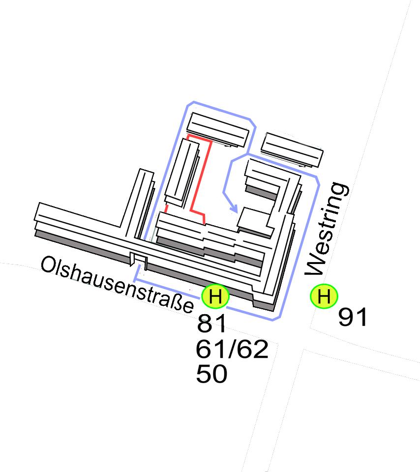 Weg zum Wilhelm-Seelig-Platz 3 mit Umleitung